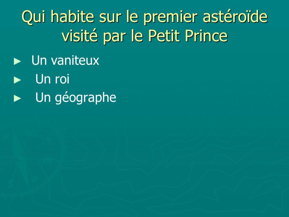 Qui habite sur le premier astéroïde visité par le Petit Prince Un vaniteux Un roi Un géographe