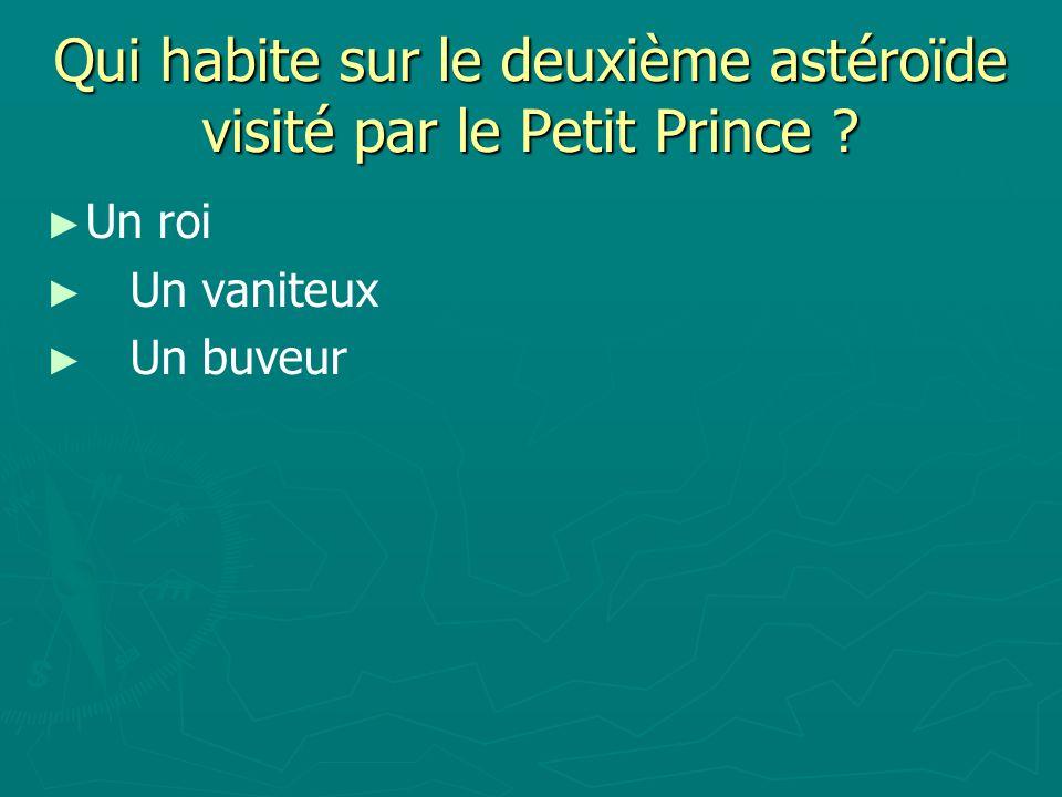 Qui habite sur le deuxième astéroïde visité par le Petit Prince ? Un roi Un vaniteux Un buveur