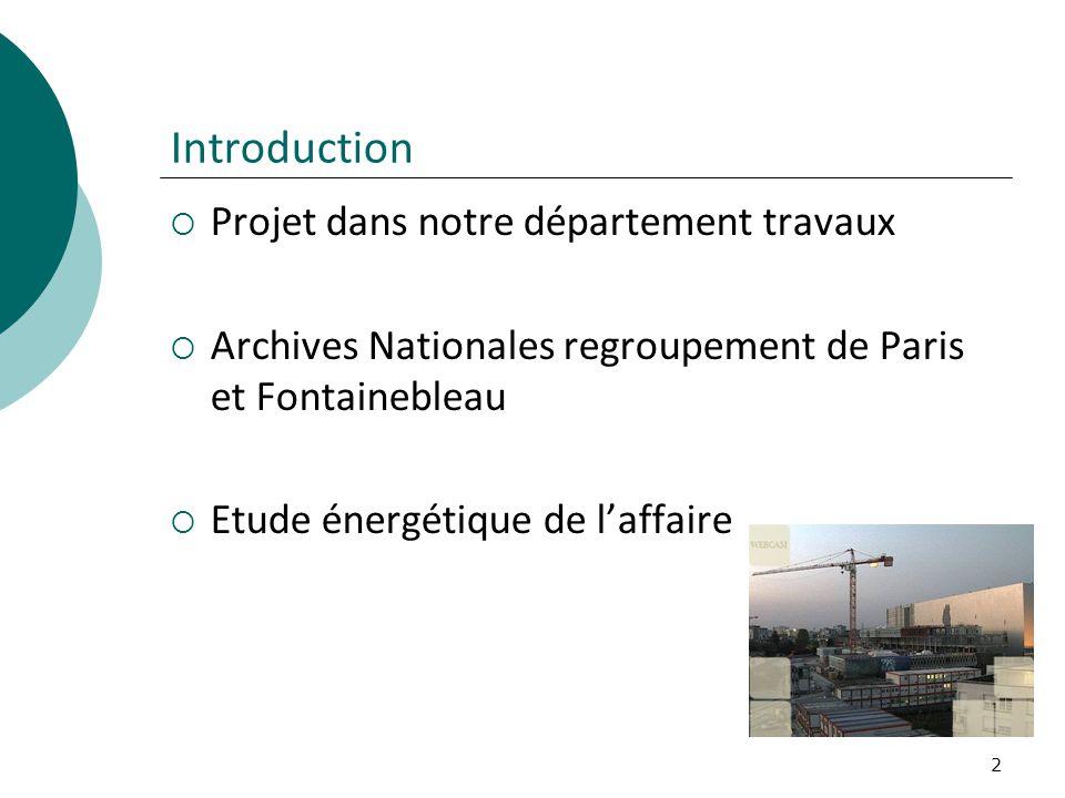 2 Introduction Projet dans notre département travaux Archives Nationales regroupement de Paris et Fontainebleau Etude énergétique de laffaire