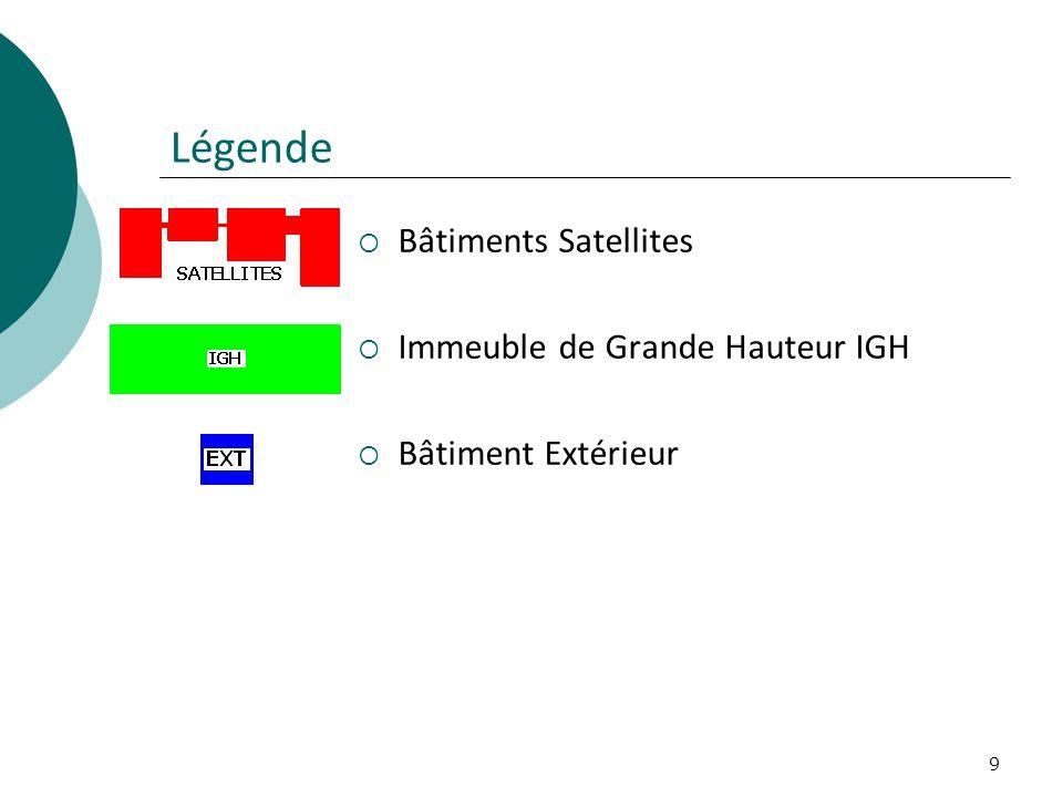 9 Légende Bâtiments Satellites Immeuble de Grande Hauteur IGH Bâtiment Extérieur