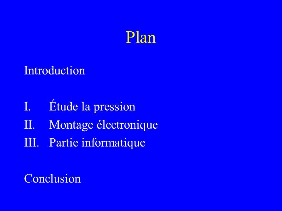 Plan Introduction I.Étude la pression II.Montage électronique III.Partie informatique Conclusion
