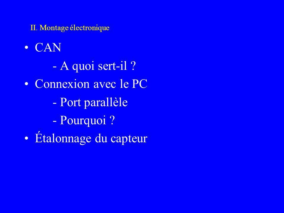 CAN - A quoi sert-il ? Connexion avec le PC - Port parallèle - Pourquoi ? Étalonnage du capteur II. Montage électronique