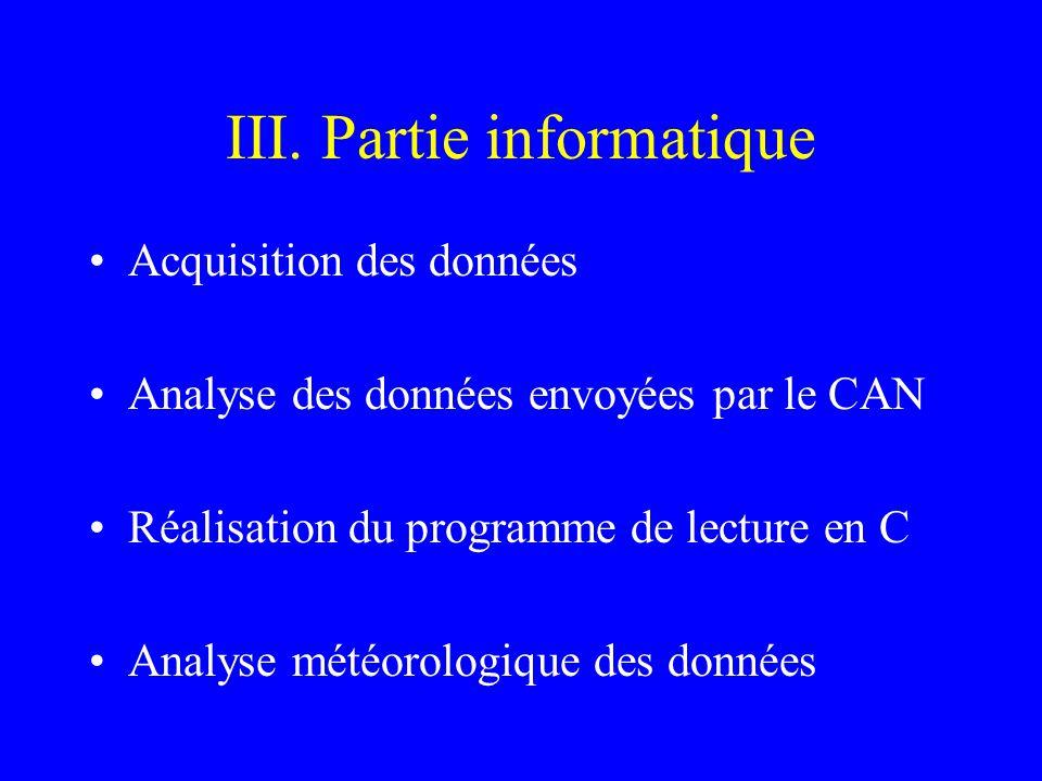 III. Partie informatique Acquisition des données Analyse des données envoyées par le CAN Réalisation du programme de lecture en C Analyse météorologiq