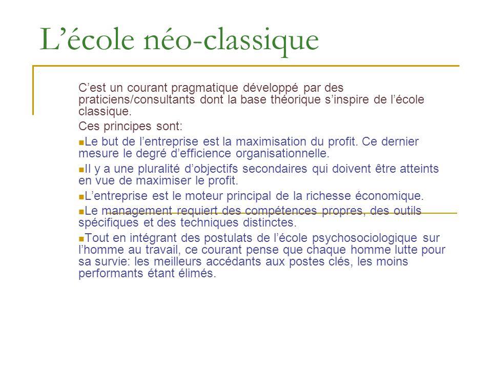 Lécole néo-classique Cest un courant pragmatique développé par des praticiens/consultants dont la base théorique sinspire de lécole classique. Ces pri