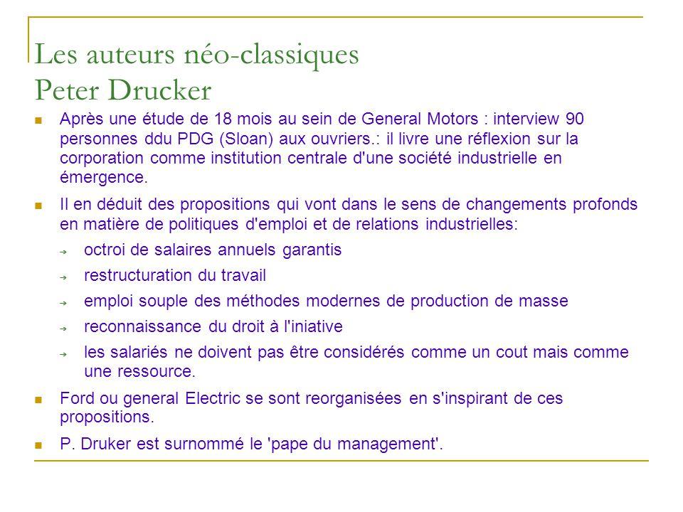 Les auteurs néo-classiques Peter Drucker Après une étude de 18 mois au sein de General Motors : interview 90 personnes ddu PDG (Sloan) aux ouvriers.: