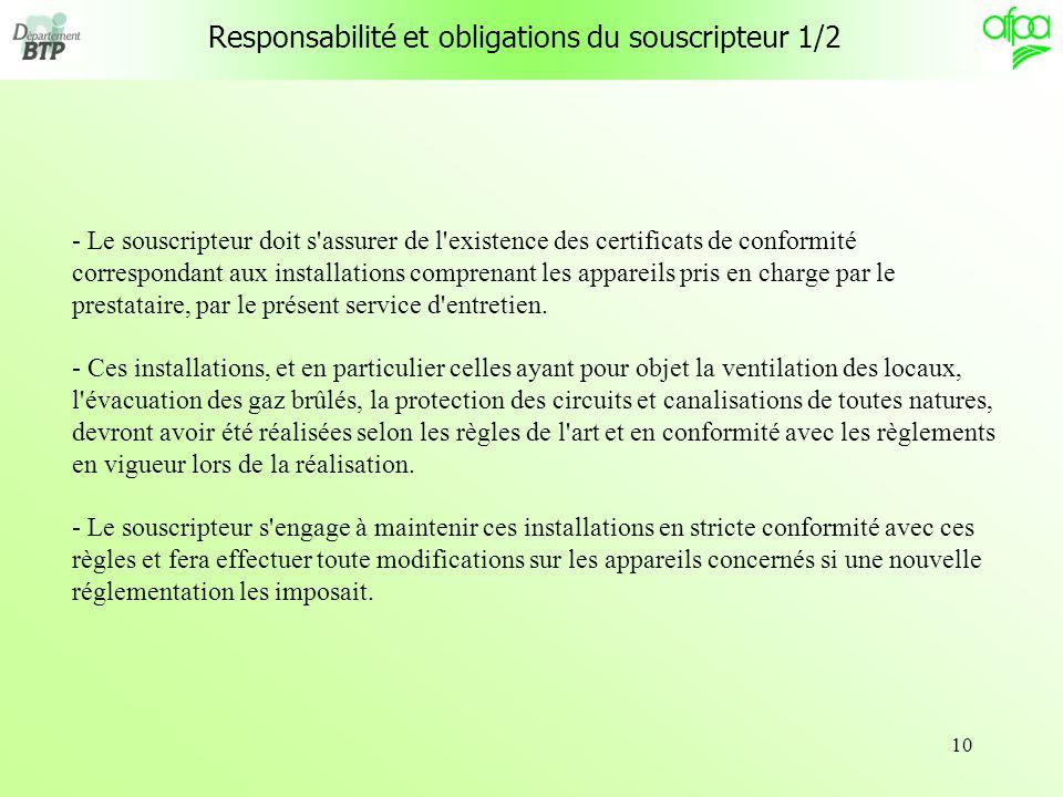 10 Responsabilité et obligations du souscripteur 1/2 - Le souscripteur doit s'assurer de l'existence des certificats de conformité correspondant aux i