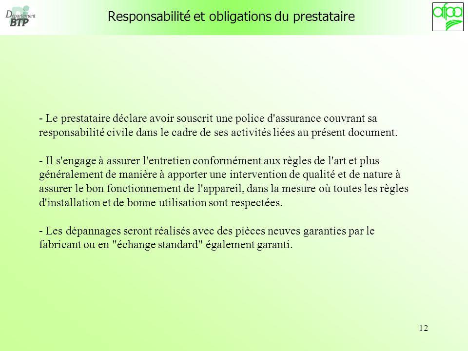 12 Responsabilité et obligations du prestataire - Le prestataire déclare avoir souscrit une police d'assurance couvrant sa responsabilité civile dans