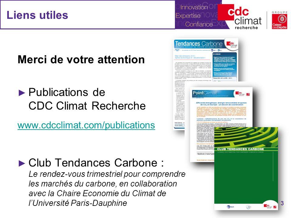 Liens utiles Merci de votre attention Publications de CDC Climat Recherche www.cdcclimat.com/publications Club Tendances Carbone : Le rendez-vous trim