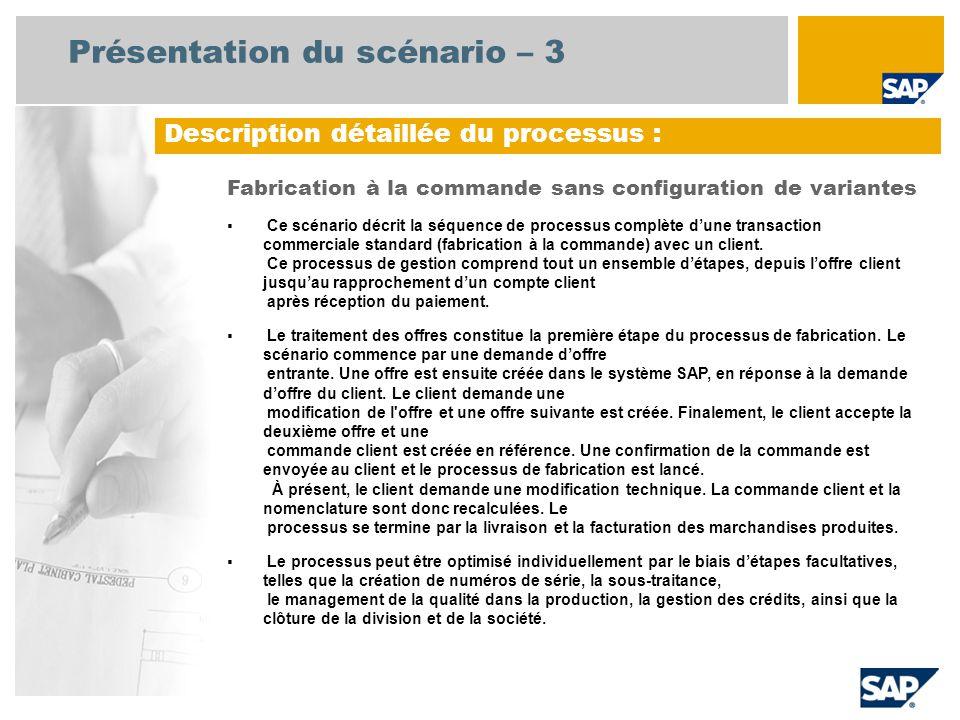 Présentation du scénario – 3 Description détaillée du processus : Fabrication à la commande sans configuration de variantes Ce scénario décrit la séquence de processus complète dune transaction commerciale standard (fabrication à la commande) avec un client.
