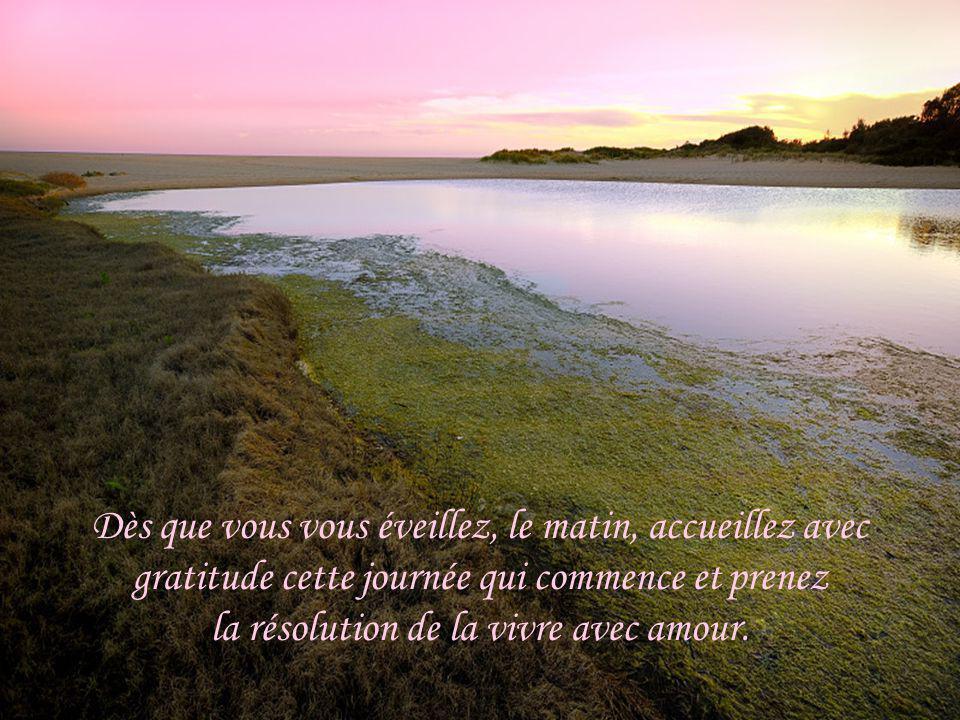 Dès que vous vous éveillez, le matin, accueillez avec gratitude cette journée qui commence et prenez la résolution de la vivre avec amour.