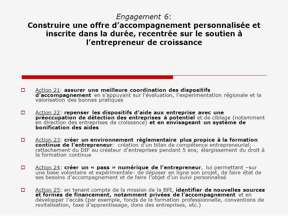 Engagement 6: Construire une offre daccompagnement personnalisée et inscrite dans la durée, recentrée sur le soutien à lentrepreneur de croissance Act