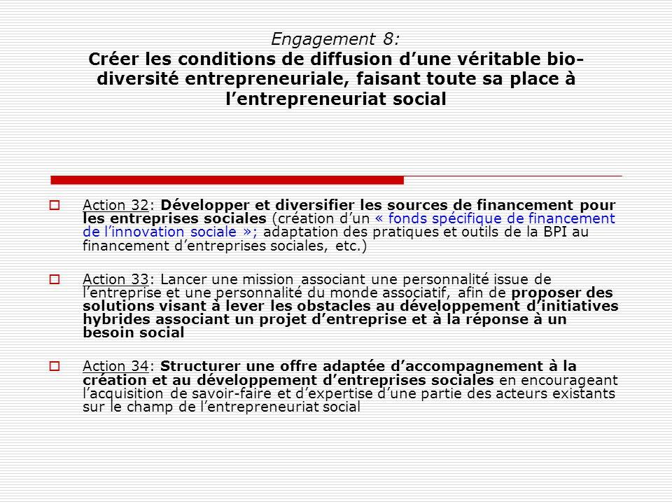 Engagement 8: Créer les conditions de diffusion dune véritable bio- diversité entrepreneuriale, faisant toute sa place à lentrepreneuriat social Actio