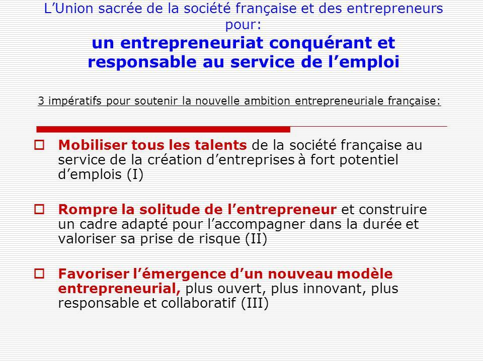 LUnion sacrée de la société française et des entrepreneurs pour: un entrepreneuriat conquérant et responsable au service de lemploi 3 impératifs pour