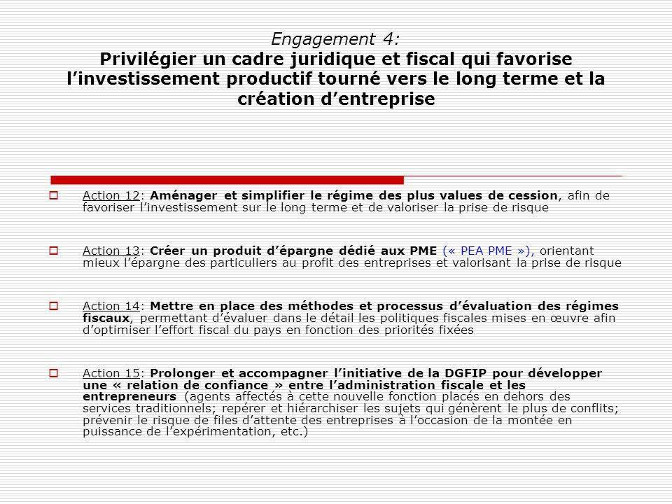 Engagement 4: Privilégier un cadre juridique et fiscal qui favorise linvestissement productif tourné vers le long terme et la création dentreprise Act