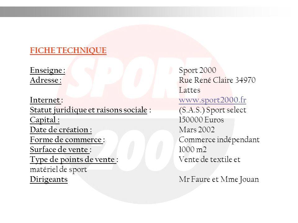 FICHE TECHNIQUE Enseigne : Sport 2000 Adresse : Rue René Claire 34970 Lattes Internet : www.sport2000.frwww.sport2000.fr Statut juridique et raisons s