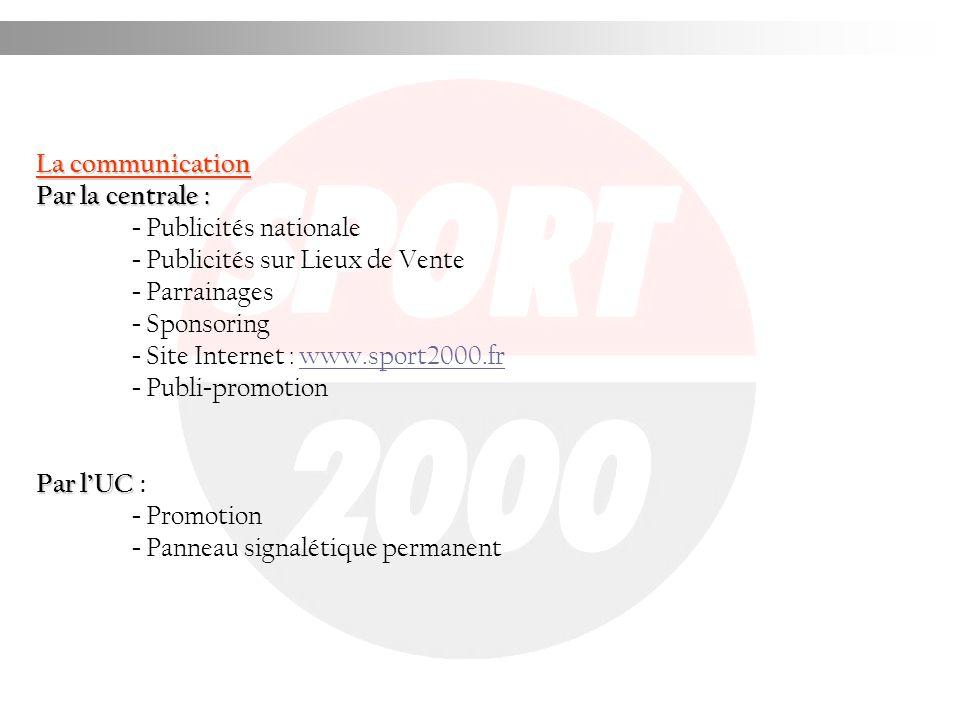 La communication Par la centrale : - Publicités nationale - Publicités sur Lieux de Vente - Parrainages - Sponsoring - Site Internet : www.sport2000.f