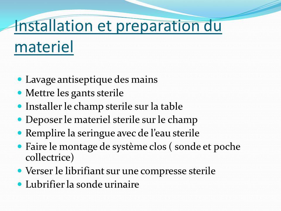 Installation et preparation du materiel Lavage antiseptique des mains Mettre les gants sterile Installer le champ sterile sur la table Deposer le mate