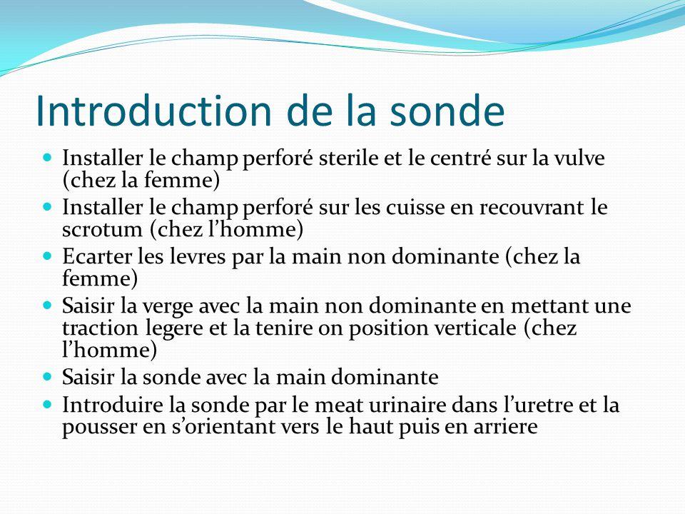 Introduction de la sonde Installer le champ perforé sterile et le centré sur la vulve (chez la femme) Installer le champ perforé sur les cuisse en rec