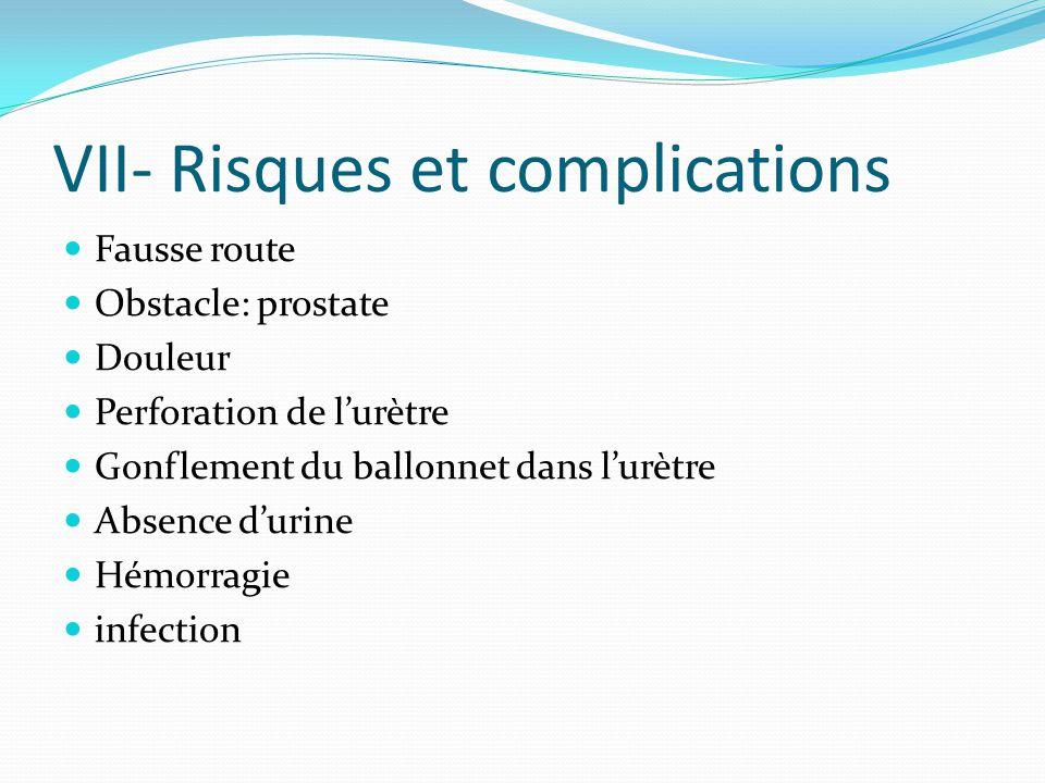 VII- Risques et complications Fausse route Obstacle: prostate Douleur Perforation de lurètre Gonflement du ballonnet dans lurètre Absence durine Hémor