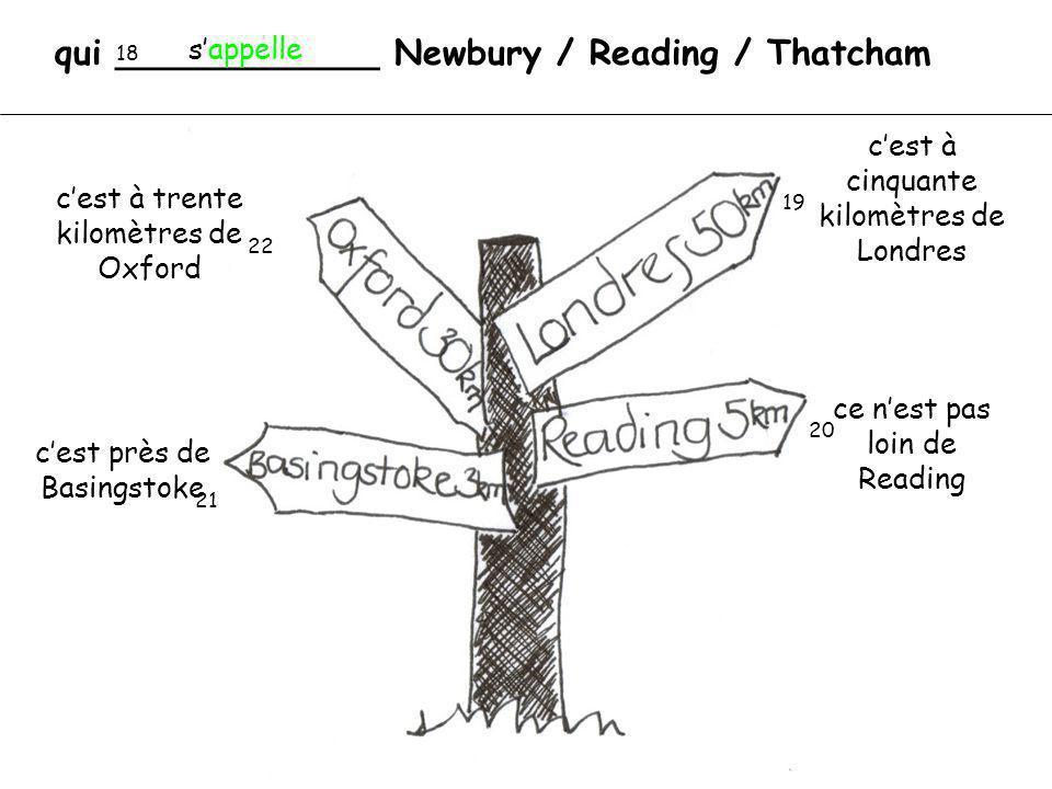qui ____________ Newbury / Reading / Thatcham 18 19 20 21 22 sappelle cest à cinquante kilomètres de Londres ce nest pas loin de Reading cest près de Basingstoke cest à trente kilomètres de Oxford