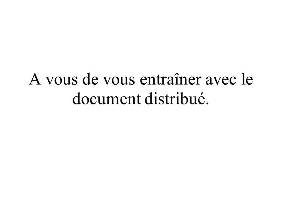 A vous de vous entraîner avec le document distribué.