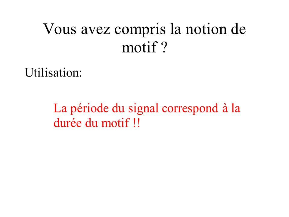 Vous avez compris la notion de motif ? Utilisation: La période du signal correspond à la durée du motif !!