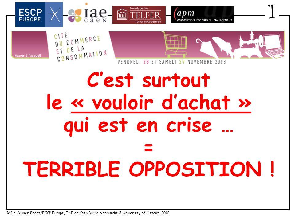 © Dr. Olivier Badot/ESCP Europe, IAE de Caen Basse Normandie & University of Ottawa, 2010 Cest surtout le « vouloir dachat » qui est en crise … dautan