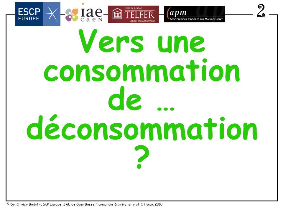© Dr. Olivier Badot/ESCP Europe, IAE de Caen Basse Normandie & University of Ottawa, 2010 F4 : Vers un commerce influencé par les « nonos » 2