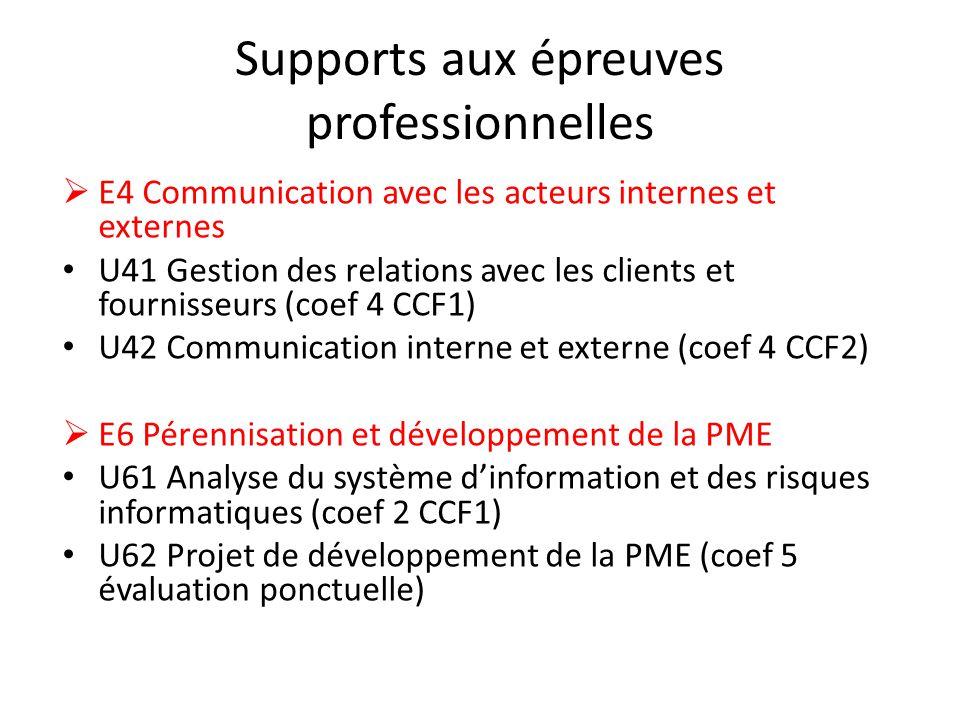 Supports aux épreuves professionnelles E4 Communication avec les acteurs internes et externes U41 Gestion des relations avec les clients et fournisseu
