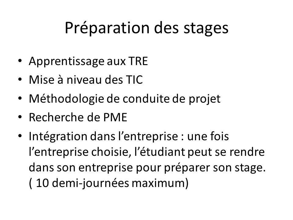 Préparation des stages Apprentissage aux TRE Mise à niveau des TIC Méthodologie de conduite de projet Recherche de PME Intégration dans lentreprise :