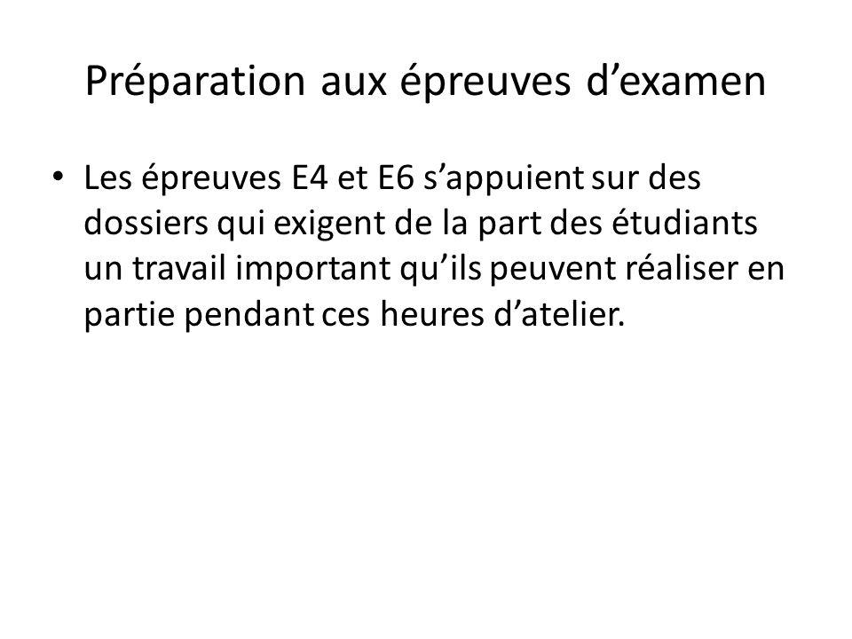 Préparation aux épreuves dexamen Les épreuves E4 et E6 sappuient sur des dossiers qui exigent de la part des étudiants un travail important quils peuv