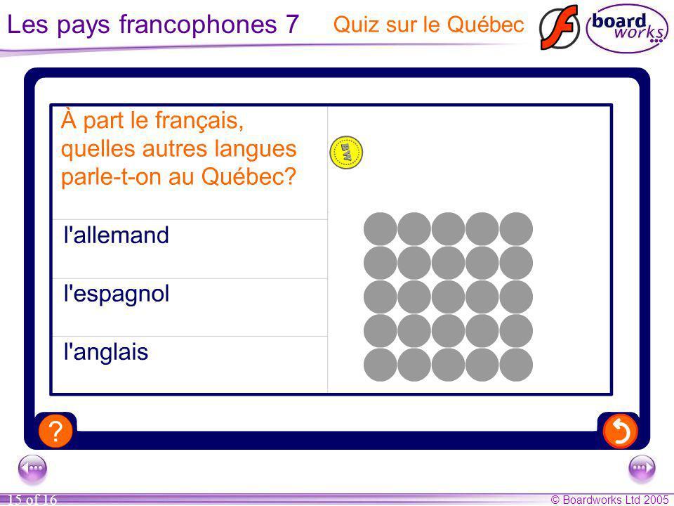 © Boardworks Ltd 2005 15 of 16 Les pays francophones 7 Quiz sur le Québec