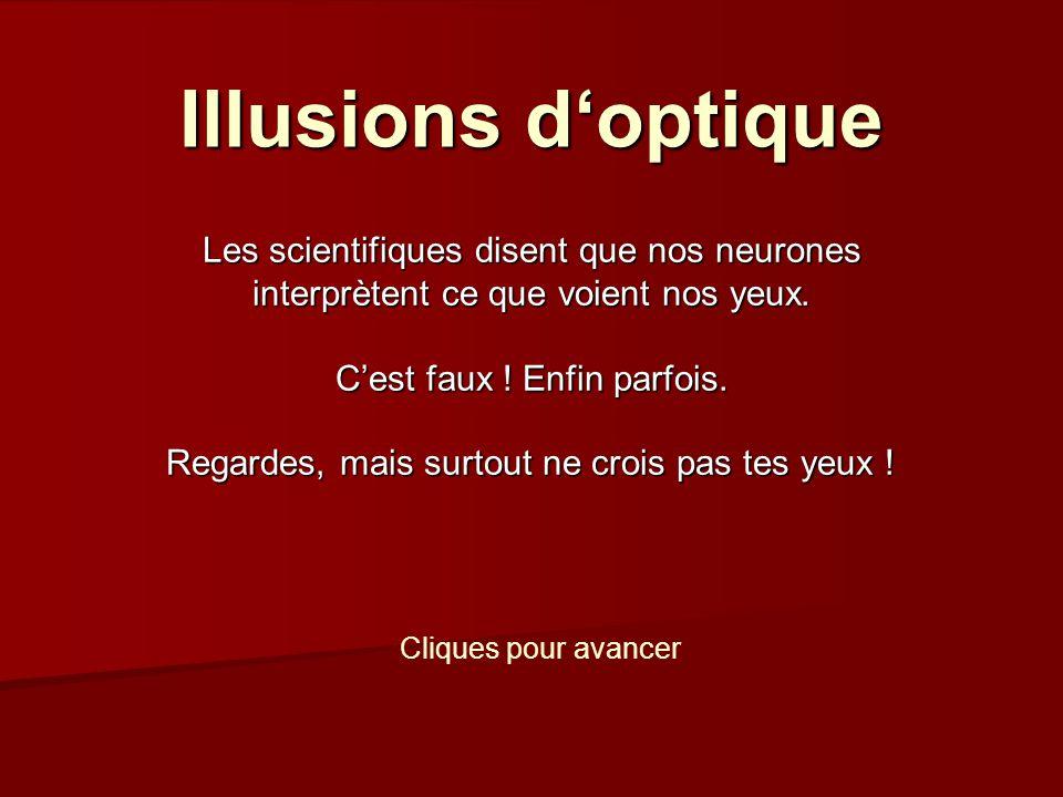 Illusions doptique Les scientifiques disent que nos neurones interprètent ce que voient nos yeux.