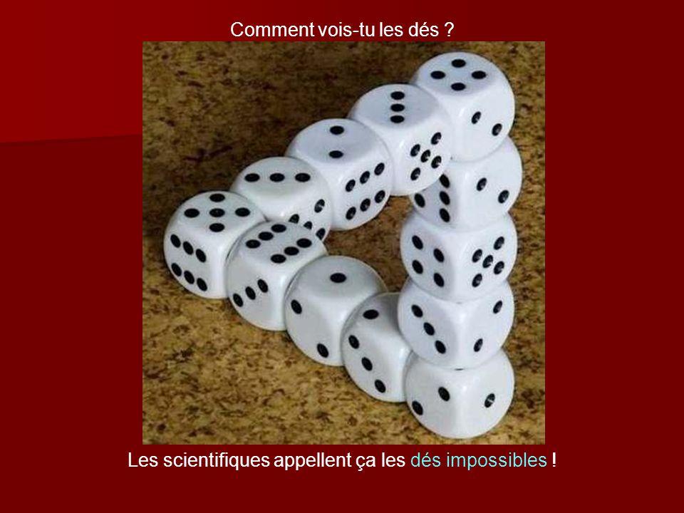 Comment vois-tu les dés ? Les scientifiques appellent ça les dés impossibles !