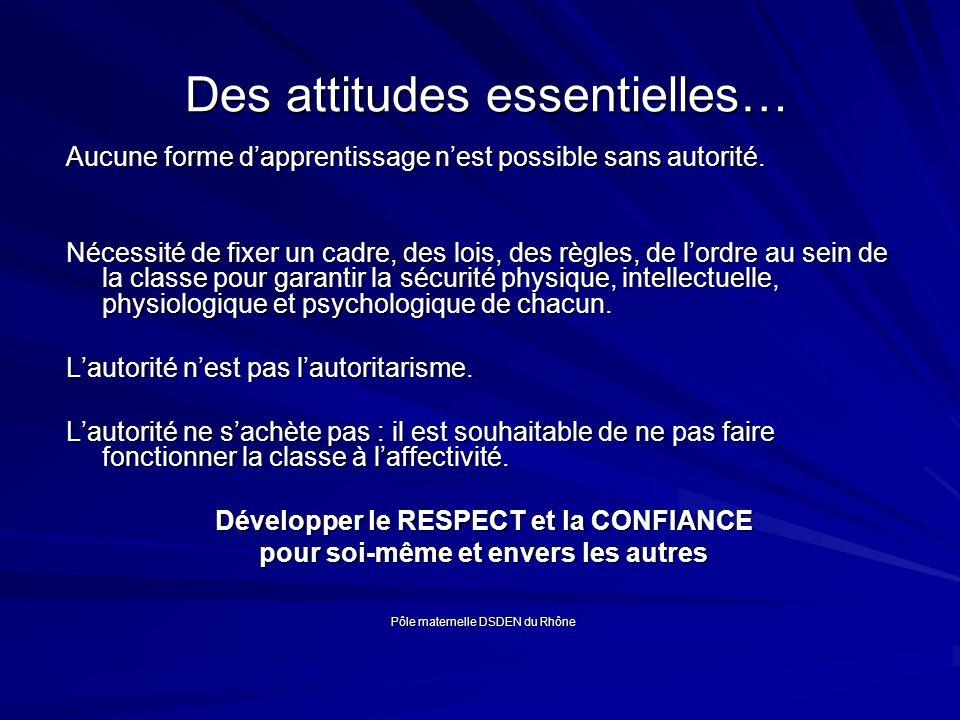 Des attitudes essentielles… Des attitudes essentielles… Aucune forme dapprentissage nest possible sans autorité.