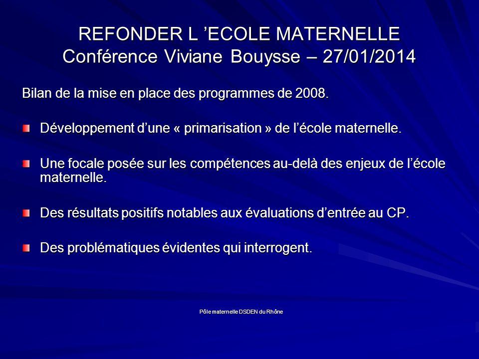 REFONDER L ECOLE MATERNELLE Conférence Viviane Bouysse – 27/01/2014 Bilan de la mise en place des programmes de 2008.