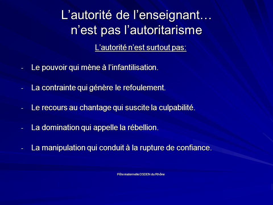 Lautorité de lenseignant… nest pas lautoritarisme Lautorité nest surtout pas: - Le pouvoir qui mène à linfantilisation.