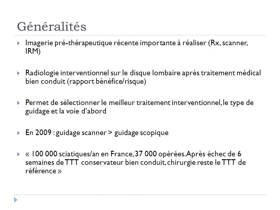 Généralités Imagerie pré-thérapeutique récente importante à réaliser (Rx, scanner, IRM) Radiologie interventionnel sur le disque lombaire après traite