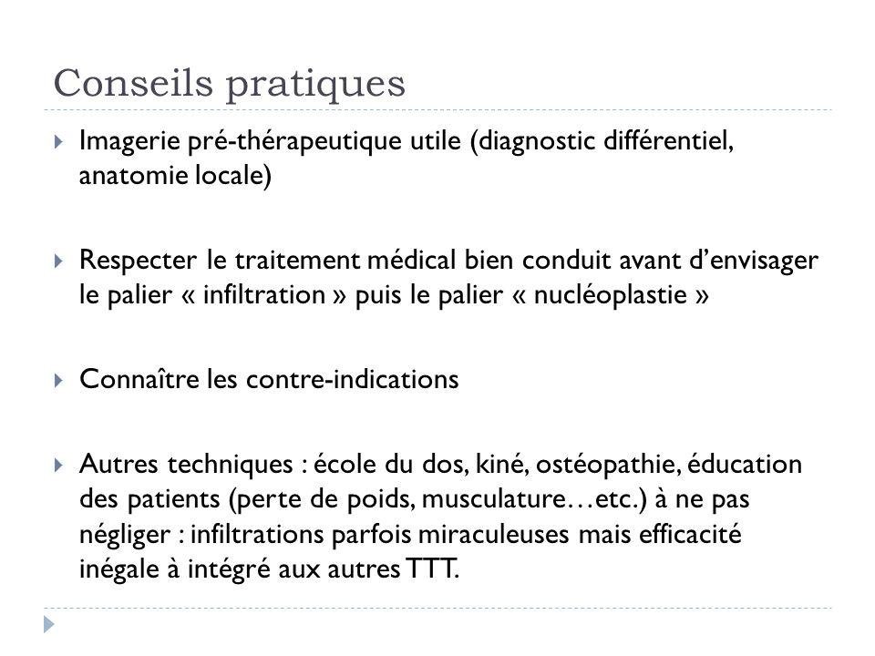 Conseils pratiques Imagerie pré-thérapeutique utile (diagnostic différentiel, anatomie locale) Respecter le traitement médical bien conduit avant denv