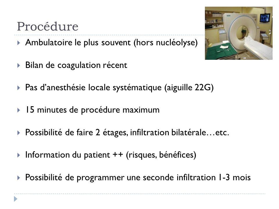 Nucléotomie Radiculalgie > lombalgie 6 semaine de TTT médical bien conduit avec inefficacité dune infiltration sélective Hernie sous-ligamentaire Hauteur du disque conservée > 5mm Facteur économique : 1000 (aiguille chère) pour une radiofréquence de 1 minute…6 à 12 passages dans le disque : cavitation et chute de pression Complications rares : douleurs ++ à court terme (hospitalisation 48h, morphine), spondylodiscite thermique (AINS ++)