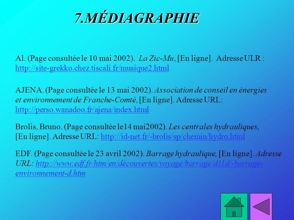 7.MÉDIAGRAPHIE AJENA. (Page consultée le 13 mai 2002). Association de conseil en énergies et environnement de Franche-Comté, [En ligne]. Adresse URL: