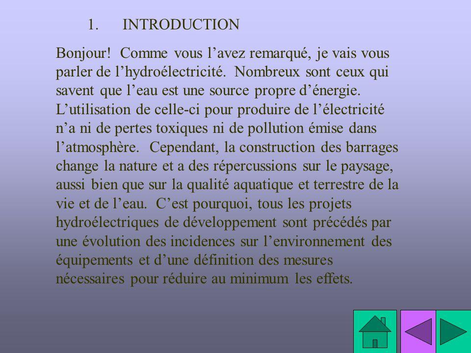 1. INTRODUCTION Bonjour! Comme vous lavez remarqué, je vais vous parler de lhydroélectricité. Nombreux sont ceux qui savent que leau est une source pr