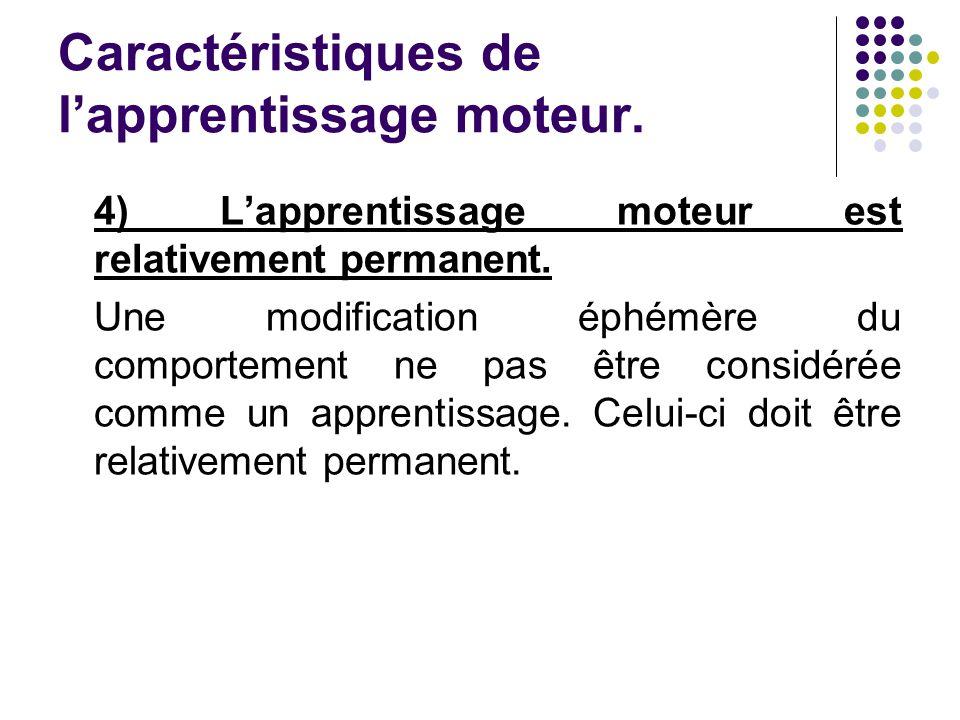 Caractéristiques de lapprentissage moteur. 4) Lapprentissage moteur est relativement permanent. Une modification éphémère du comportement ne pas être