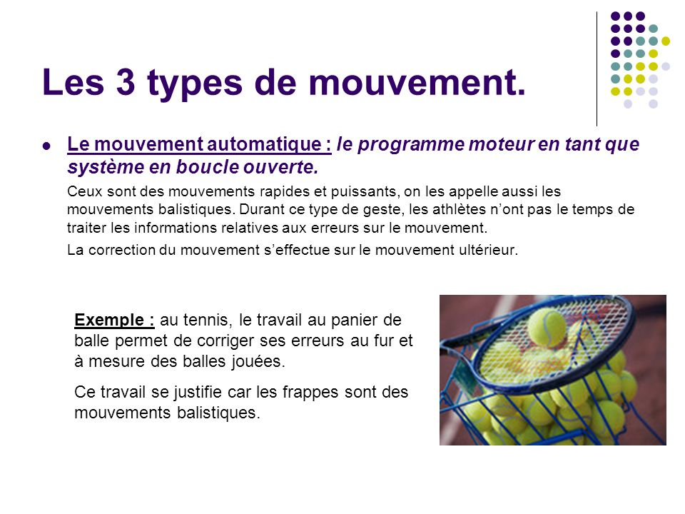 Les 3 types de mouvement. Le mouvement automatique : le programme moteur en tant que système en boucle ouverte. Ceux sont des mouvements rapides et pu