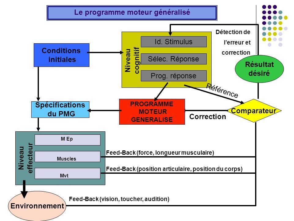 Id. Stimulus Sélec. Réponse Prog. réponse Niveau cognitif Niveau effecteur M Ep Muscles Mvt Environnement Le programme moteur généralisé Comparateur R