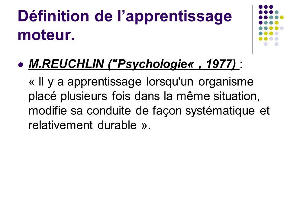 Définition de lapprentissage moteur.R.M.GAGNE ( The condition of learning .