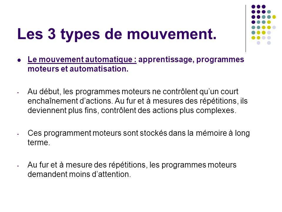 Les 3 types de mouvement. Le mouvement automatique : apprentissage, programmes moteurs et automatisation. - Au début, les programmes moteurs ne contrô