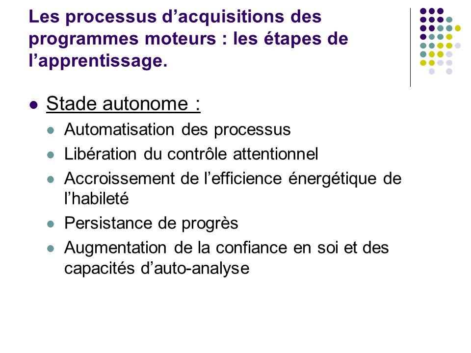 Stade autonome : Automatisation des processus Libération du contrôle attentionnel Accroissement de lefficience énergétique de lhabileté Persistance de
