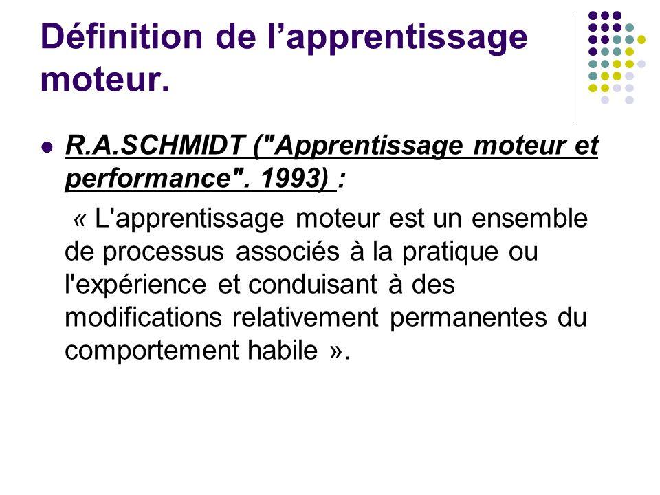 Définition de lapprentissage moteur. R.A.SCHMIDT (