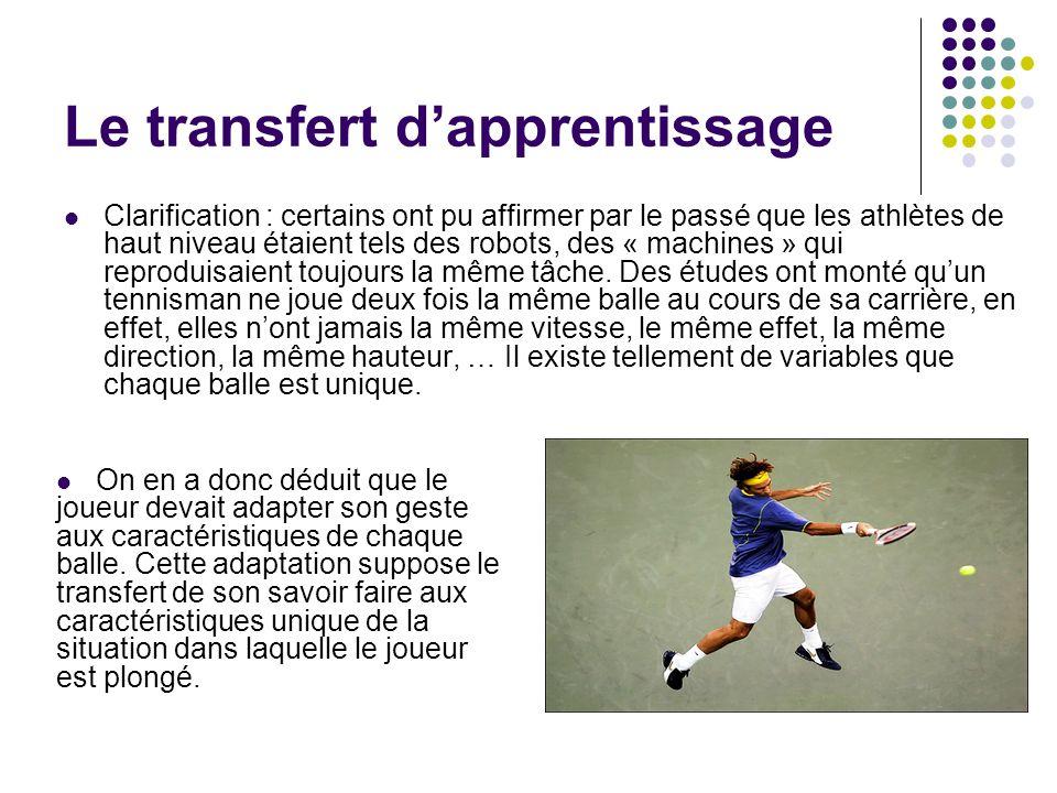 Le transfert dapprentissage Clarification : certains ont pu affirmer par le passé que les athlètes de haut niveau étaient tels des robots, des « machi